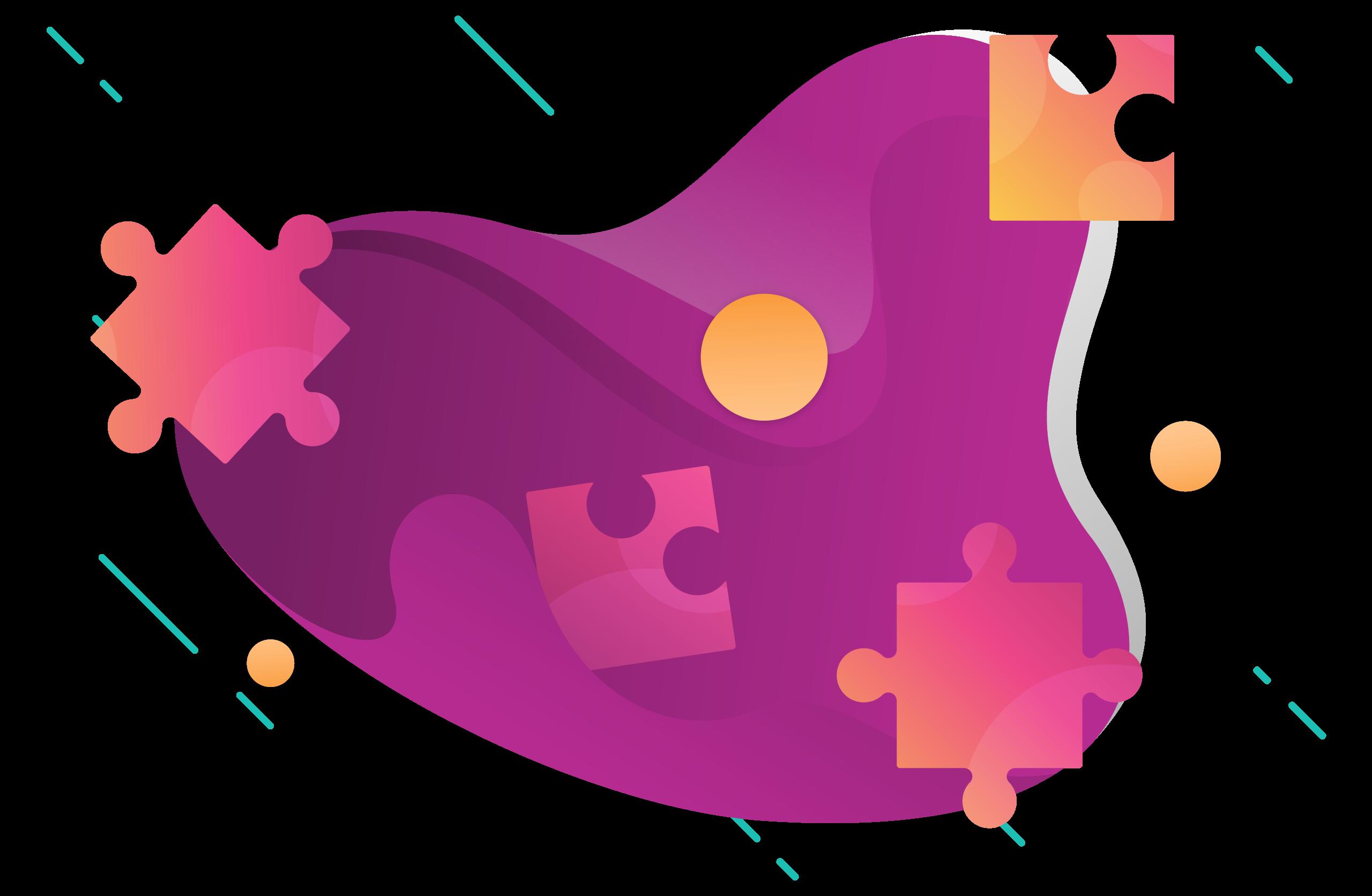 Purple puzzle pieces on black background